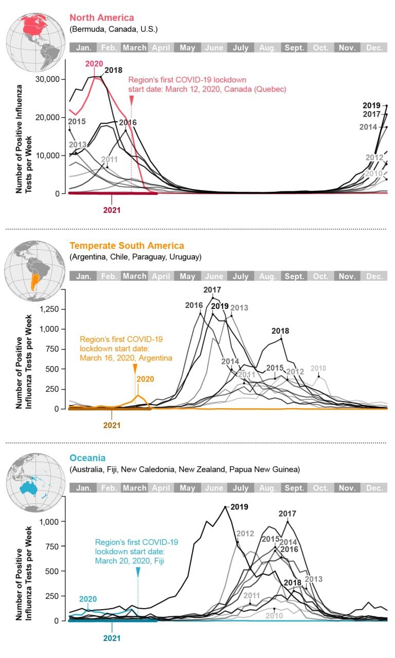 Заболеваемость гриппом вовремя эпидемии коронавируса снизилась домизерных уровней повсему миру